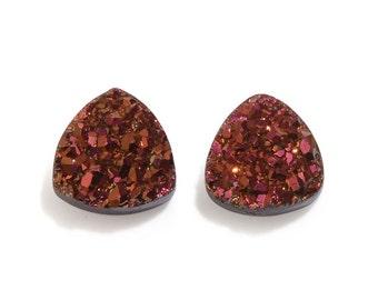 Rose Golden Drusy Quartz Trillion Cabochon Loose Gemstones Set of 2 1A Quality 7mm TGW 1.40 cts.