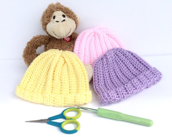 Newborn Crochet Baby Hats Set of 3, Yellow Pink and Purple Newborn Beanies, Perfect Baby Shower Gift for Mommy to Be
