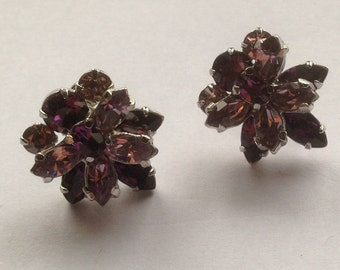 Vintage Sherman Two Tone Purple Rhinestone Earrings