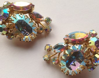 Stunning Vintage Unsigned Sherman Aurora Borealis Rhinestone Earrings Large Oval Stones