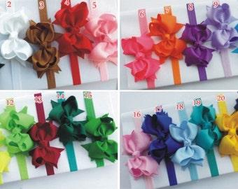Set of 5 Baby Headband Bow,elastic headband ,31 color headband ,stretch headband, girls headband ,baby bow headband - hairband, H2