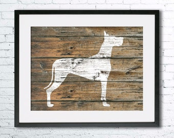 Great Dane 3 art illustration print, Great Dane painting ,dog illustration, Wall art, Rustic Wood art, Animal art, dog art, art print