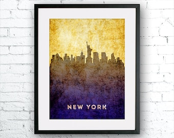 New York illustration Art Print, New York painting, United States New York art, poster, cityscape, city art, urban,city wall art