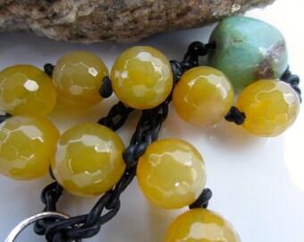 Brazilian Yellow Agate Chrysoprase Tenner, Decade Yellow Pocket, Yellow Pocket Catholic Rosary,  Yellow Agate Pocket Rosary