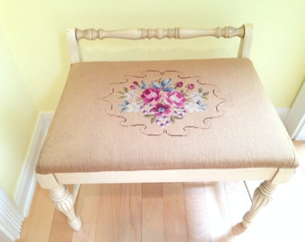 Vintage Needlepoint Piano or Vanity Bench