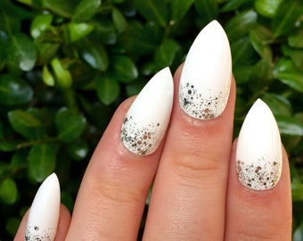 Fake nails, white nails, stiletto nails