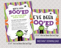Instant Download! We've Been Boo'ed Halloween Secret Candy Gift Tag Printable DIY - Frankenstein Bright Modern Spooky You've Been Booed