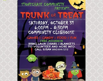 Trunk or Treat Flyer / Invitation Poster / Halloween Template Church School Community Harvest Flyer Invitation / Fundraiser Poster Candy
