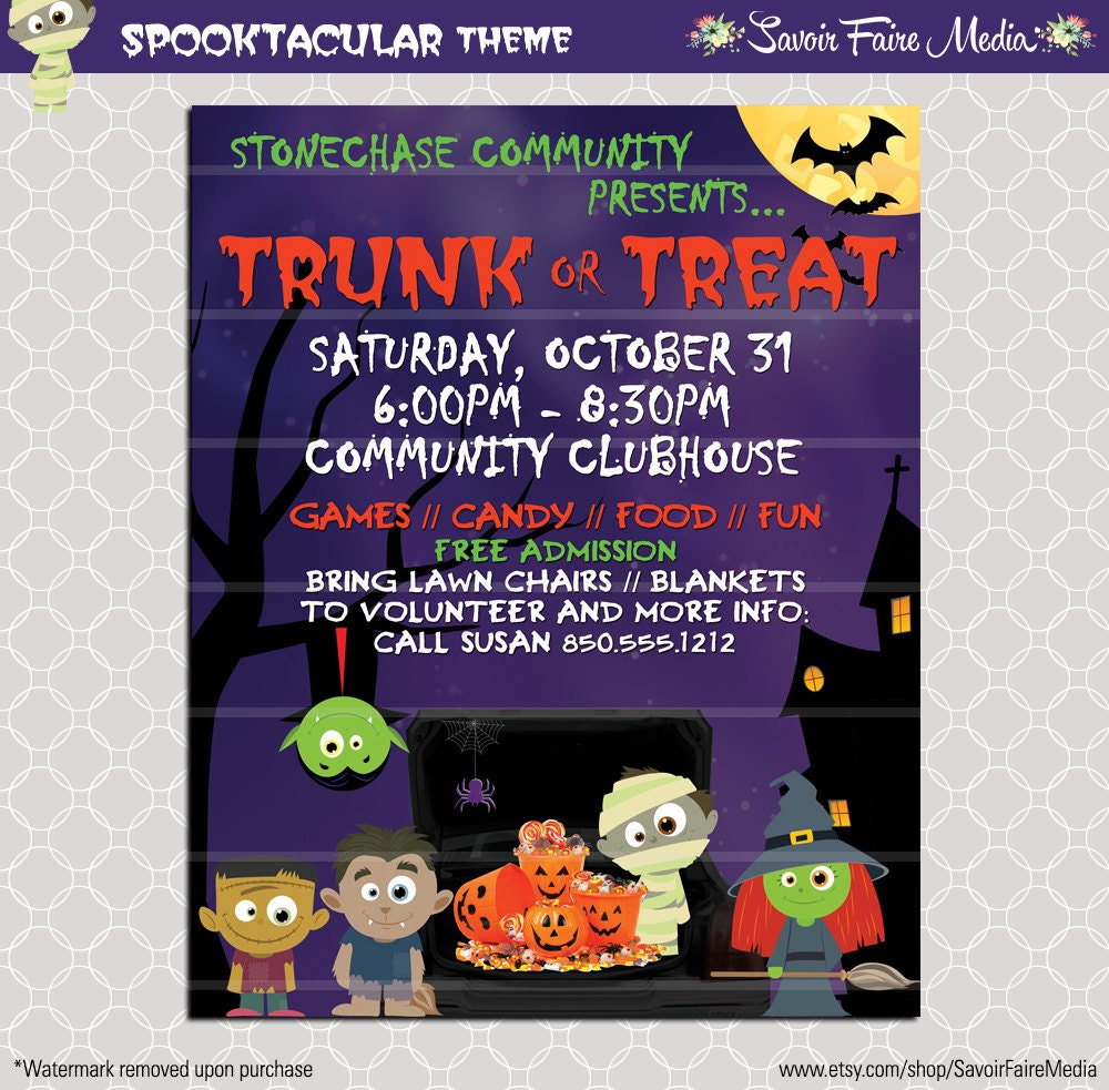 trunk or treat flyer    invitation poster    halloween template