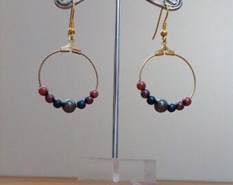 Swarovski pearl hoop earrings, gold