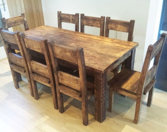 Chunky Wooden Dining Table & Dining Chair Package