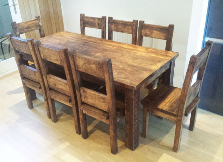 Chunky Wood Table ~ Chunky wooden dining table chair by