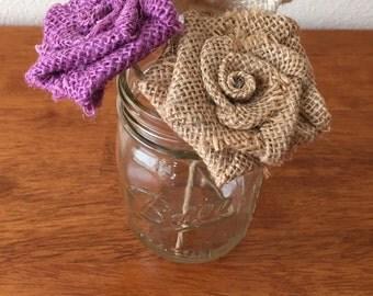 Mason Jar Burlap Flower