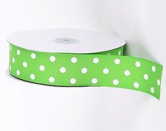 "1-1/2"" Apple Green with White Polka Dot Grosgrain Ribbon 1-1/2"" x 1 yard"