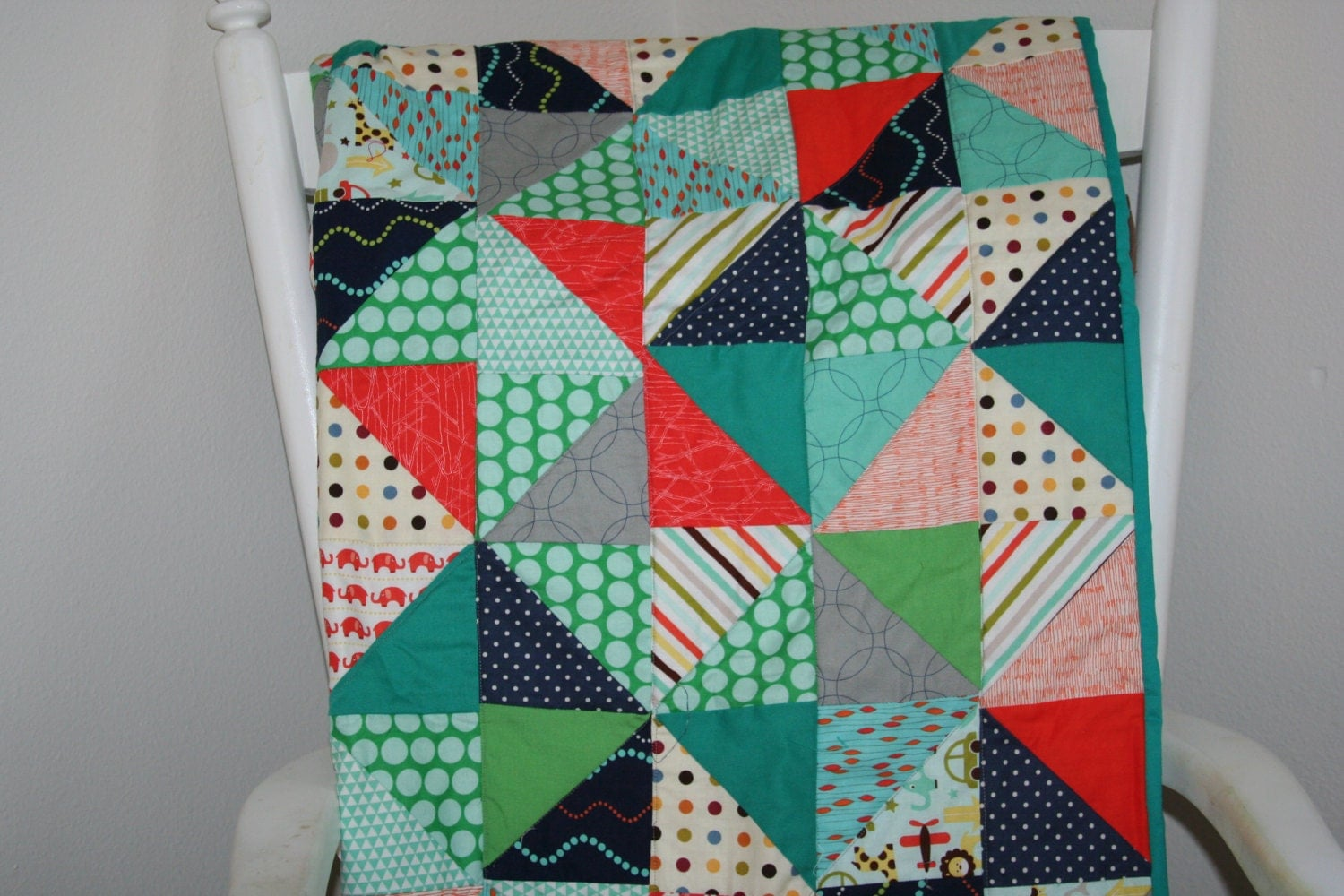 Baby quilt baby boy bedding teal and orange modern baby