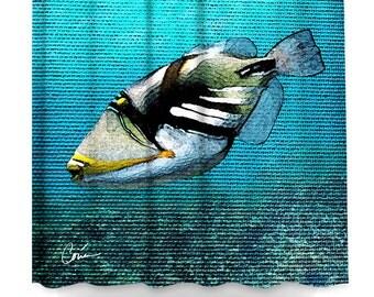 Blue Triggerfish Shower Curtain by Artist Corina Bakke.