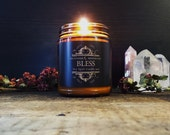 SPELL CANDLE ~ 9 oz BLESS All Natural Soy Essential Oil and Botanical Herb ritual Candle by Nightshade Botanicals