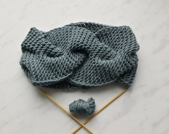 Knitted headband Warm headband Dark grey headband