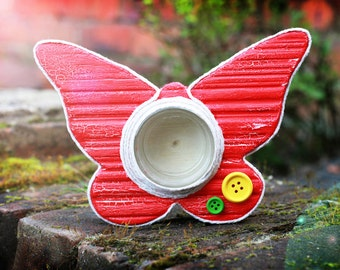 Wooden Candle holder, Butterfly candleholder, Romantic gift, Decoupaged handmade candle holder, Red butterfly