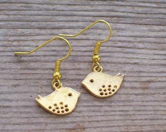 Gold Bird Earrings, Little Birdie Earrings, Gold Plated Bird Jewelry