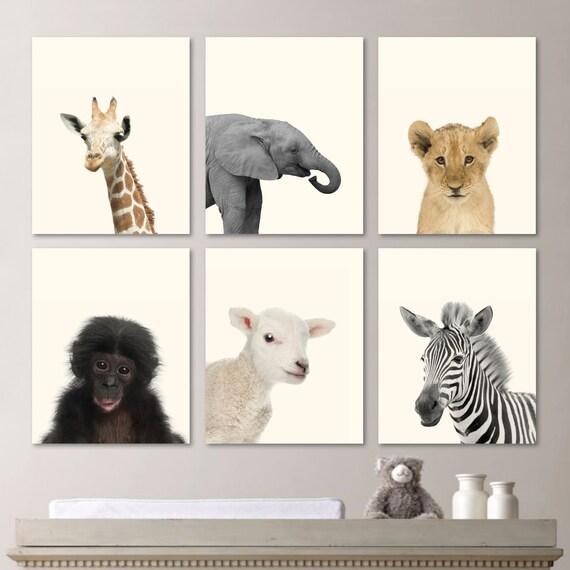 Baby Animal Prints. Baby Nursery Print Art. Baby Animal Art.