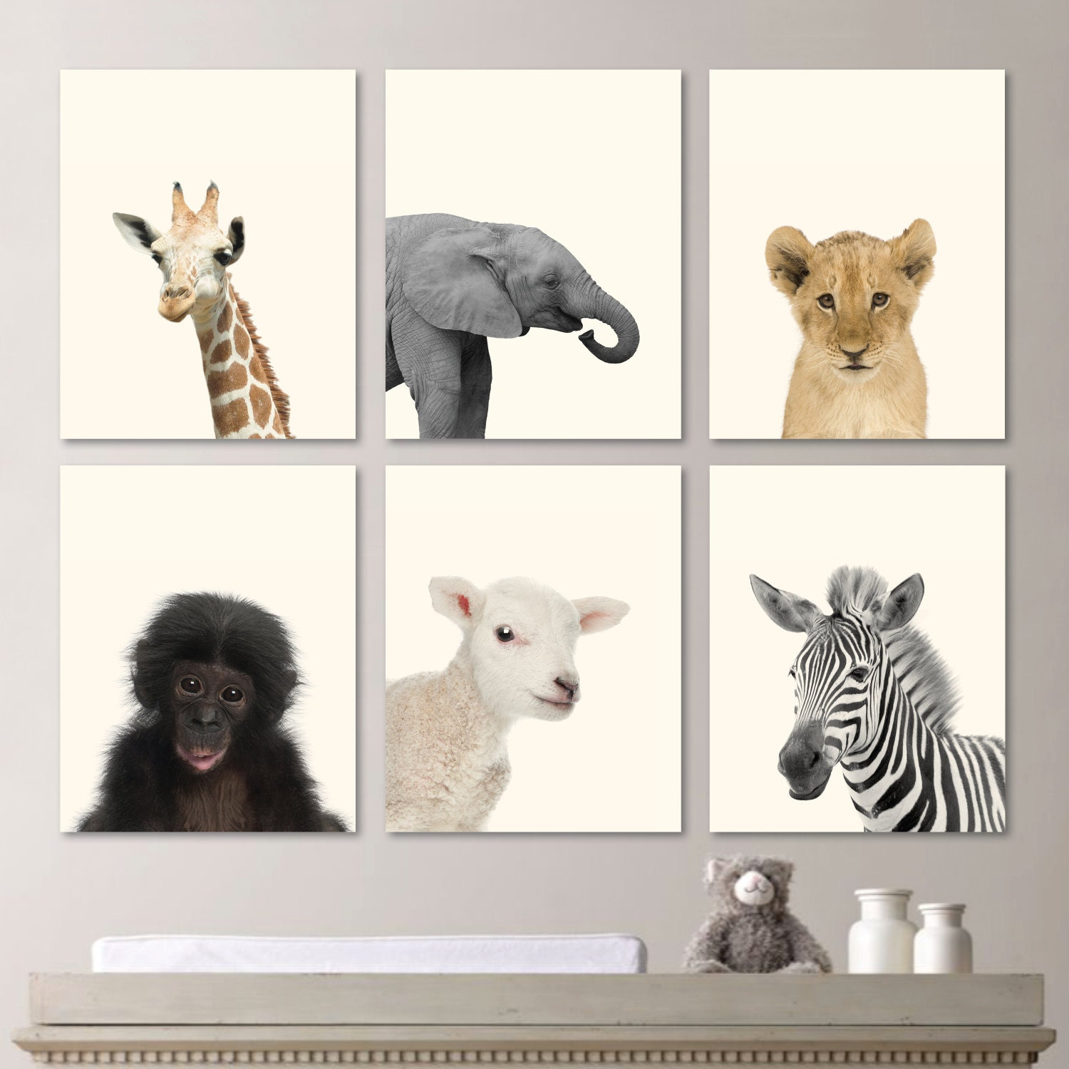 Baby Animal Prints. Baby Nursery Print Art. Baby Animal Art.