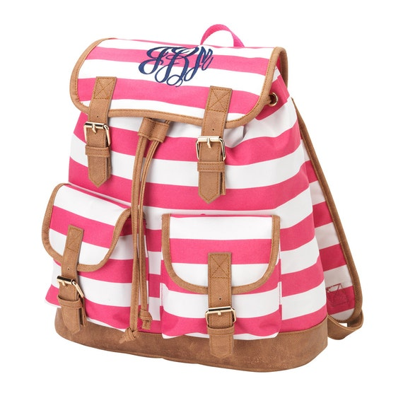 Mint Navy and Pink Campus Style Backpacks Embroidered Book
