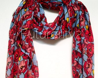 Light Blue Red Poppy Spring Scarf / Summer Scarf / Autumn Winter Scarf / Gift For Her / Women Scarves / Fashion Accessories