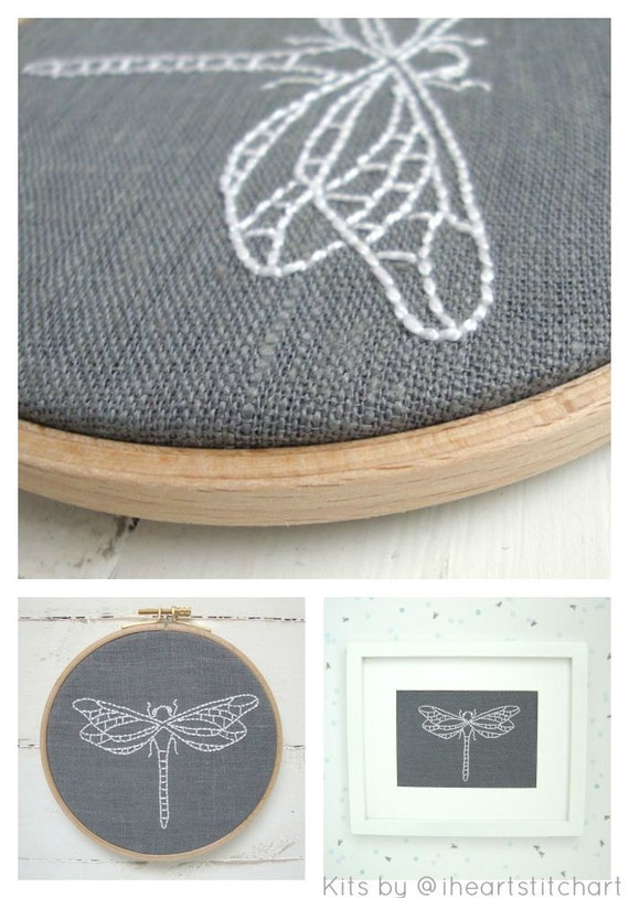 Modern embroidery kit dragonfly pattern easy