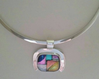 925 handmade sterling silver pendant with dichroic glass