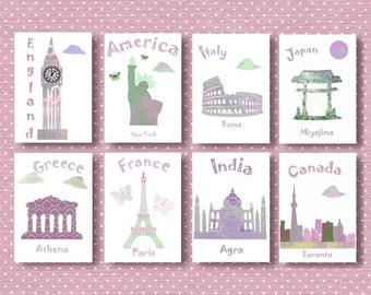 148,Oh,the places you'll go,Dr Seuus,baby girl art print,nursery decor,travel nursery,France,Germany,USA,Greece,Italy,India,England,Japan