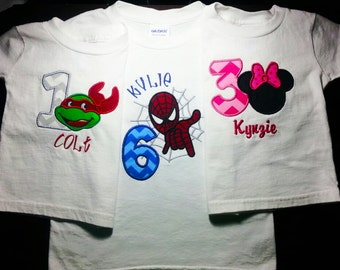 Custom Embroidered Character Birthday Shirt or Bodysuit with Name included (made to order)