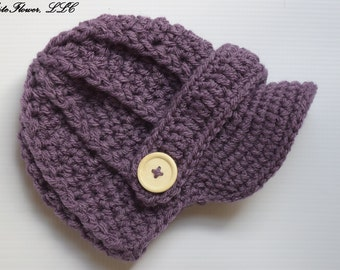 Dusty Purple Newborn baby hat, 74 colors to choose,Crochet newsboy hat , crochet baby hat, crochet hat, newborn baby hat, crochet baby hat