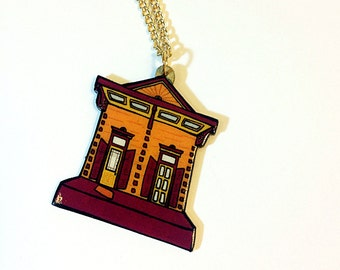 New Orleans Shotgun House in Plum and Burnt Orange – Chartres St. Necklace