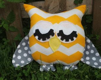 Yellow chevron/grey polka dot sleepy stuffed owl/pillow/plushie/nursery decor