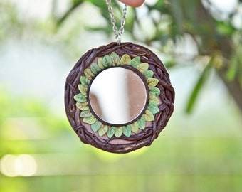 Solar PROTECTION AMULET circle MIRROR leaves necklace