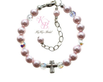 Pearl Baptism Bracelet Baptism Jewelry Baby Bracelets FREE Gift Box Baby Gift Baptism Gift, Christening Gift First Communion Jewelry