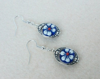 Blue and Red Flower Earrings