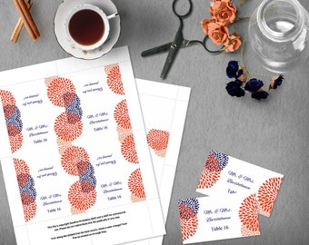 Coral and Navy Wedding Tented Card Template, Printable Place Card Wedding Template, Food Label, Tented Card, Instant Download, DIY Wedding