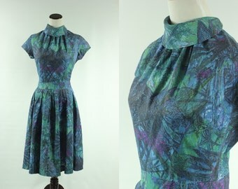 50s/60s Abstract Jewel Tone Funnel Collar Dress