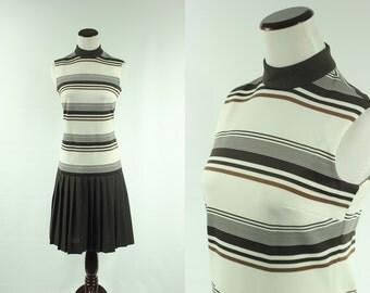 60s Brown Striped Drop-waist Pleated Dress