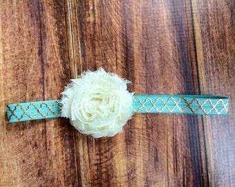 Mint and gold elastic with cream ahabby flower headband