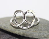 Heart Ring, Statement Ring, Little Pretzel Ring, Sterling Silver Ring, Cute Ring