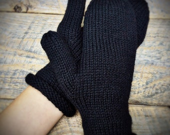 Black wool mittens for women