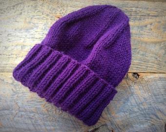 Womens purple winter hat - wool