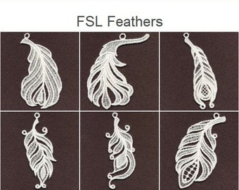FSL Feathers - Free Standing Lace Machine Embroidery Designs Instant Download 4x4 hoop 10 designs SHE1638