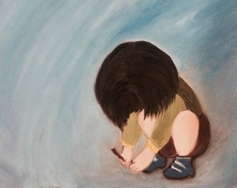 Boy On The Sand Original Oil Painting 20x16 One of A Kind