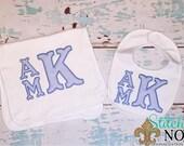 Stacked Appliqued Monogram Romper, Bib, Burp Cloth Bubble, Tee, Gown, or Bodysuit