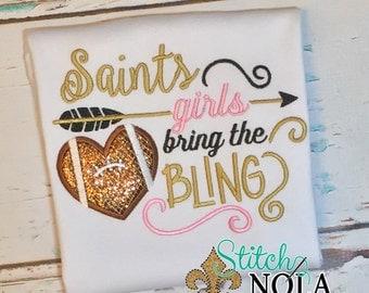 Saints Girls bring the BLING T-Shirt or Bodysuit