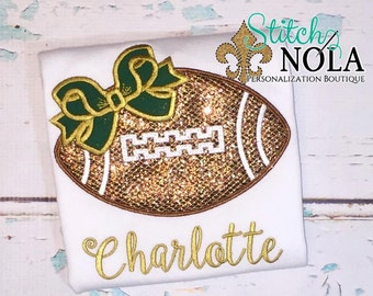 Hunter Green and Gold Glitter Football with Bow T-Shirt or Bodysuit